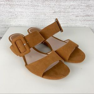 H&M Big Buckle Suede Slide Sandals